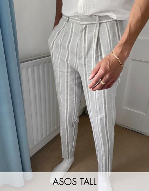 Design Tall Tapered Smart Trouser In Grey Stripe Linen