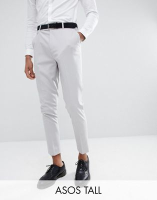 ASOS DESIGN Tall tapered suit trousers in putty grey