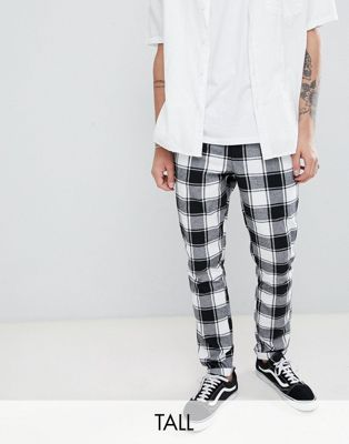 ASOS DESIGN Tall tapered trousers in monochrome flannel check