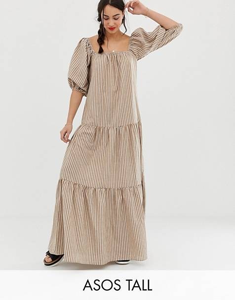 ASOS DESIGN Tall tiered maxi dress in stripe with puff sleeve