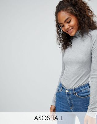 ASOS DESIGN Tall - Top col roulé à manches longues - Gris