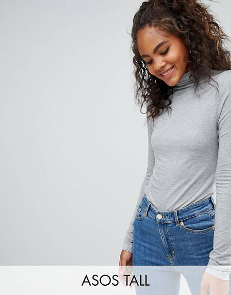 ASOS DESIGN Tall turtleneck long sleeve top in gray