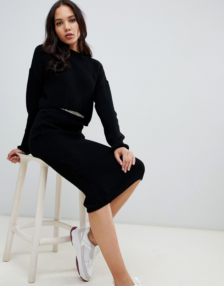 Asos Design Tall Two Piece Cropped Oversized Sweater In Rib by Asos Design