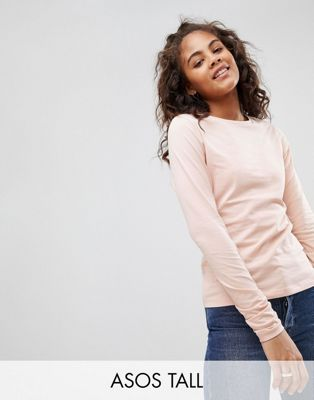 ASOS DESIGN Tall ultimate top with long sleeve and crew neck in pink