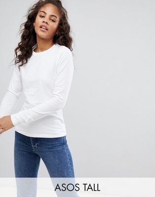 ASOS DESIGN Tall ultimate top with long sleeve and crew neck in white