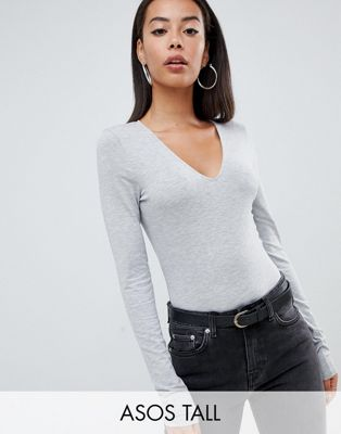 ASOS DESIGN Tall ultimate top with long sleeve and v-neck in grey