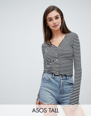 ASOS DESIGN Tall v neck top in rib with button front and long sleeve in stripe
