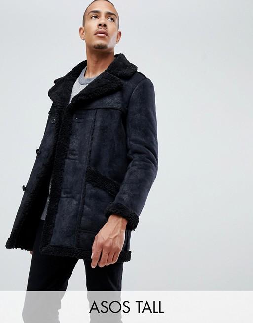 Veste De Design Tall En Fausse Noir Peau Asos Mouton LzpjSMqUVG