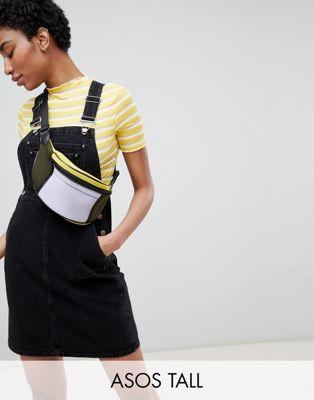 ASOS DESIGN Tall - Vestito di jeans a salopette nero délavé