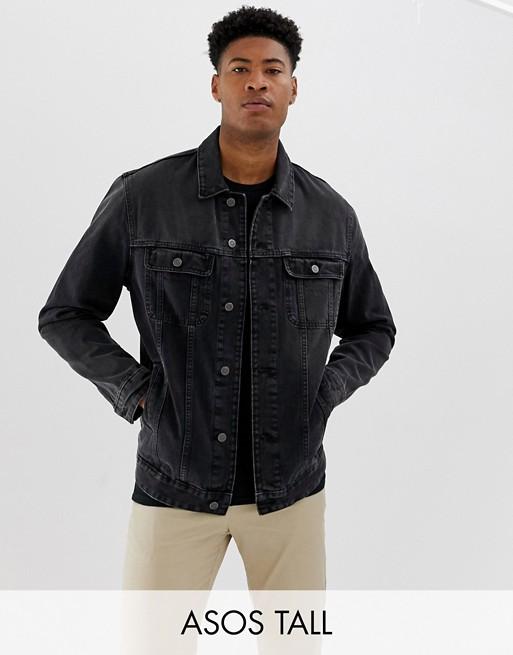 ASOS DESIGN Tall washed black oversized jacket