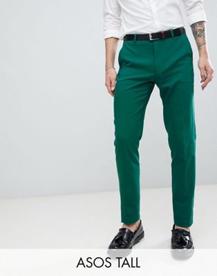 Immagine 1 di ASOS DESIGN Tall Wedding - Pantaloni da abito skinny verde bosco