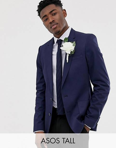 ASOS DESIGN Tall wedding skinny blazer in navy cotton