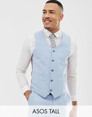 Image 1 of ASOS DESIGN Tall wedding skinny suit vest in blue cross hatch