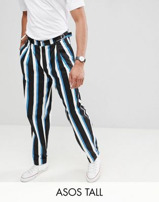 Image 1 of ASOS DESIGN Tall wide balloon trousers in all over stripe