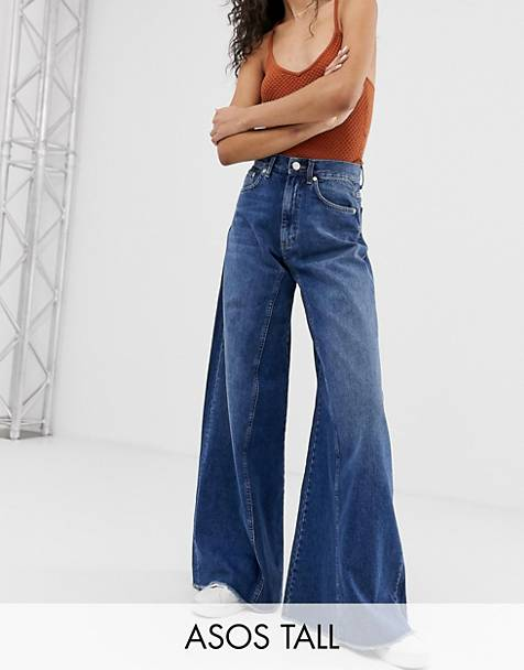 ASOS DESIGN Tall wide leg jeans with inverted godet inserts in dark stone wash