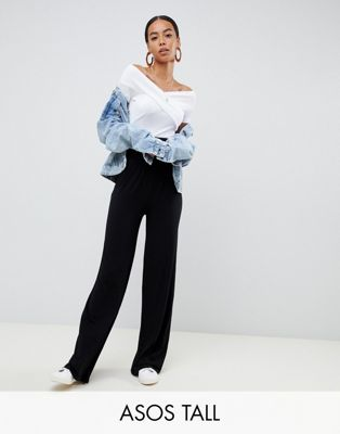 Image 1 of ASOS DESIGN Tall wide leg pants with deep waistband