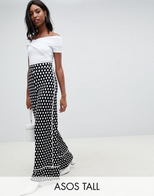 ASOS DESIGN Tall wide leg trouser with contrast bind in mono print