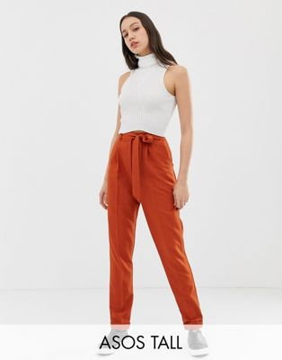 Image 1 of ASOS DESIGN Tall woven peg trousers with obi tie