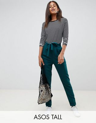 ASOS DESIGN Tall woven peg trousers with obi tie