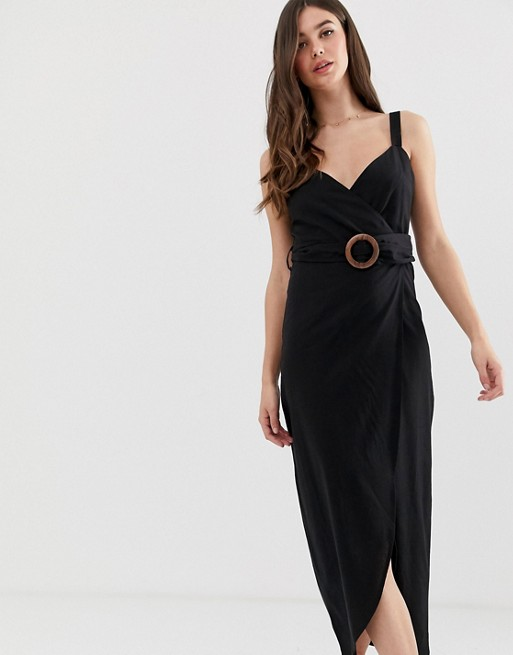 Image 1 of ASOS DESIGN Tall wrap maxi dress with buckle belt