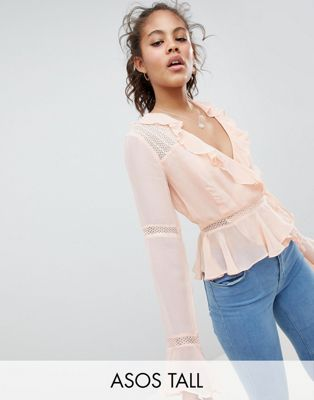 ASOS DESIGN Tall wrap top with ruffle and lace insert in pink