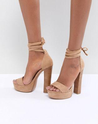 Image 1 of ASOS DESIGN Tamarind Tie Leg Platform Sandals