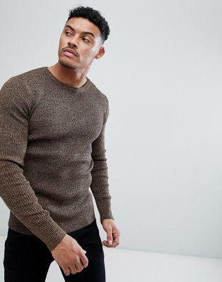 ASOS DESIGN – Tanfärgad ribbstickad tröja med muscle fit