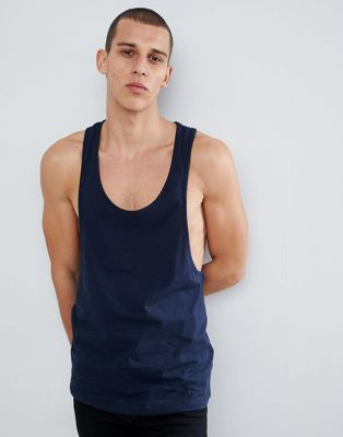 ASOS DESIGN tank with extreme racer back in navy