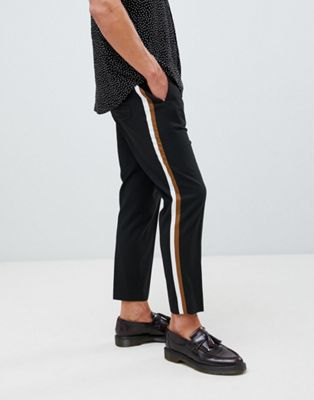 ASOS DESIGN tapered crop smart pants in black with double side stripe