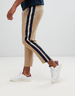 Image 1 of ASOS DESIGN tapered crop smart pants in camel with side stripe