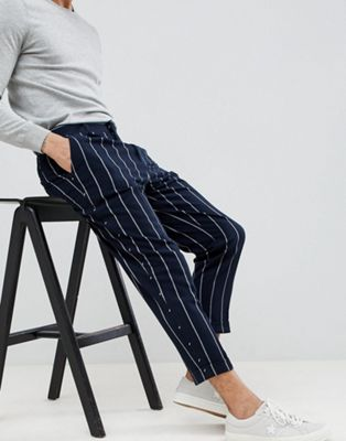 ASOS DESIGN tapered smart pants in navy stripe