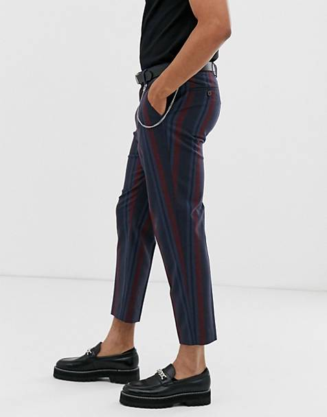 813314bc390a ASOS DESIGN tapered smart trousers in navy and bold burgundy stripe