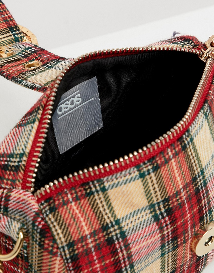 Asos Design Tartan And Diamonte Barrel Bag by Asos Design