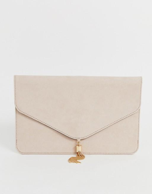 Image 1 of ASOS DESIGN tassel clutch bag