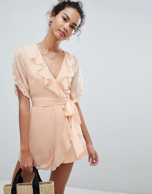 ASOS DESIGN Tea Romper In Crinkle Chiffon