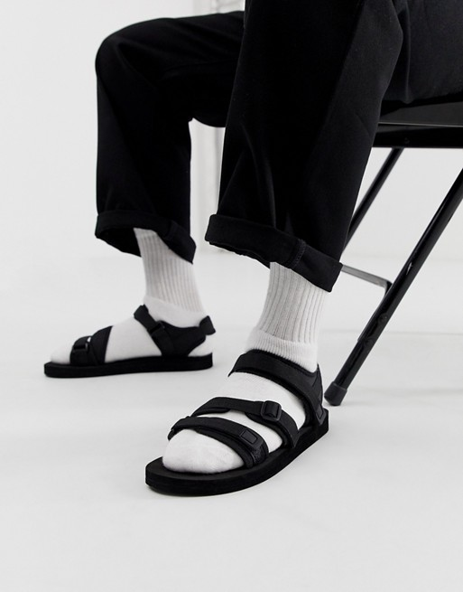 ASOS DESIGN tech sandals in black with tape straps