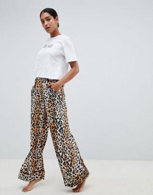 ASOS DESIGN tee & leopard print wide leg trouser pyjama set