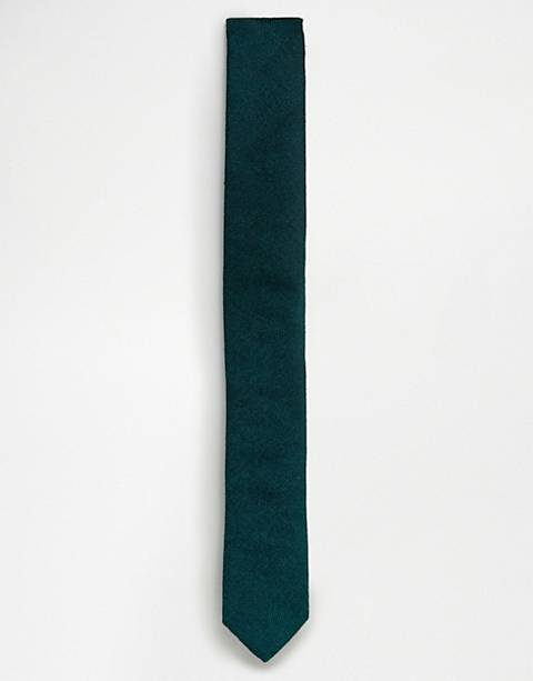 ASOS DESIGN textured tie in forest green