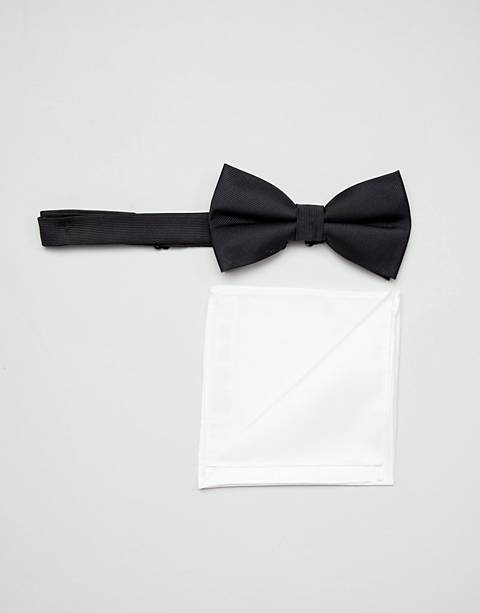 ASOS DESIGN tie and pocket square pack in black