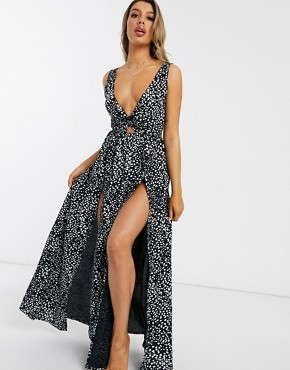 ASOS DESIGN tie back beach maxi dress with twist front detail in black mono polka dot