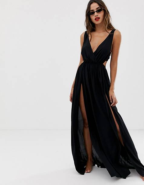 ASOS DESIGN tie back cross front split maxi beach dress in black
