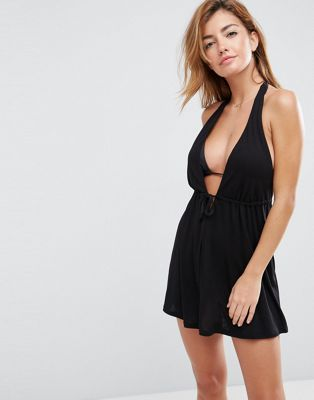 Image 1 of ASOS DESIGN Tie Front Plunge Jersey Mini Beach Dress
