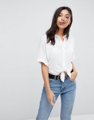 Image 1 of ASOS DESIGN Tie Front Shirt in Crinkle