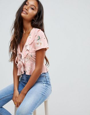 ASOS DESIGN tie front top in pink base floral print