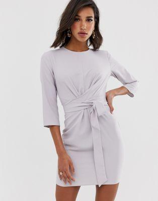 ASOS DESIGN tie wrap around mini dress