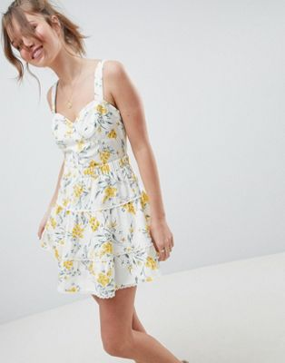 ASOS DESIGN tiered mini skirt two-piece in floral print