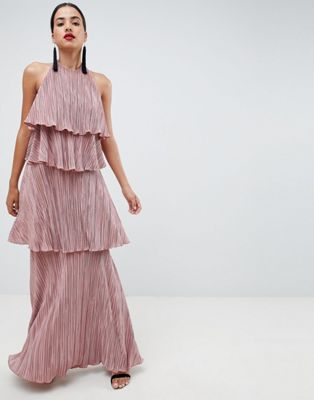 ASOS DESIGN tiered plisse maxi dress