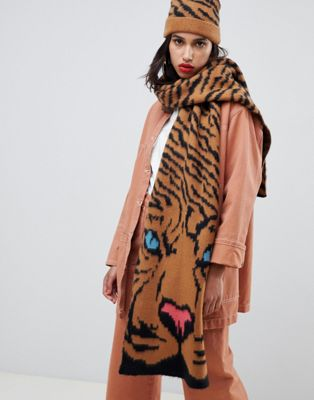 ASOS DESIGN tiger face knitted scarf