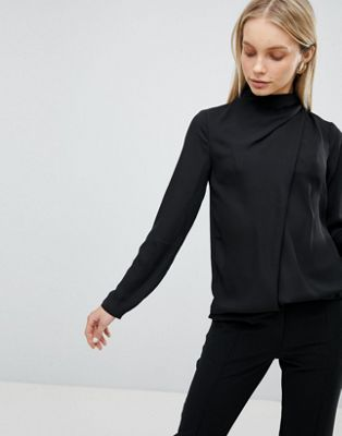 ASOS DESIGN Top With Ruched High Neck