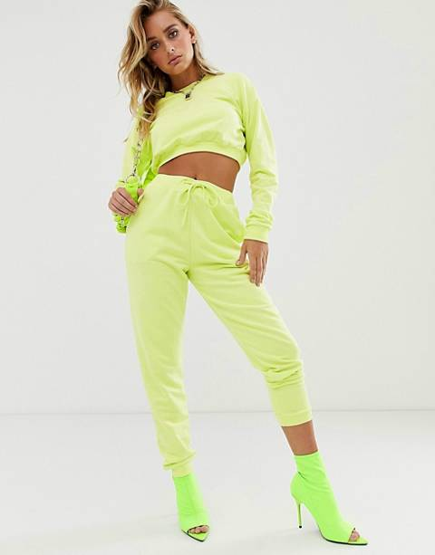 ASOS DESIGN tracksuit cropped sweat / slim jogger with tie in neon yellow